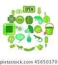 icons, set, cartoon 45650370