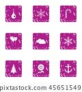 Ornamentation icons set, grunge style 45651549