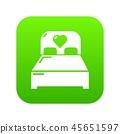 Wedding couple bed icon green vector 45651597