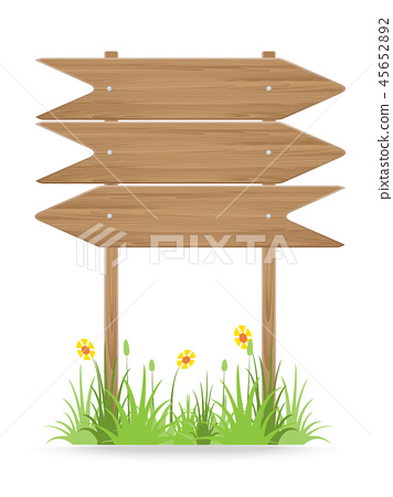 Wooden signpost on grass with flowers on white 45652892