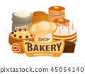 Bakery shop cakes, pastry products 45654140