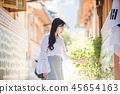 여자 여성 대학생 소녀 귀여움 도시 낭만 여유  45654163