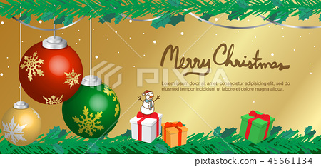 ball and golden background banner for christmas 45661134