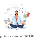 Businessman Meditating in Work Chaos Flat Vector 45661498
