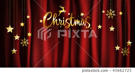 Christmas gold calligraphy on red background 45662725