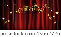 Typographic Christmas on red fabric background 45662726