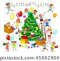 Happy kids decorate Christmas tree 45662904