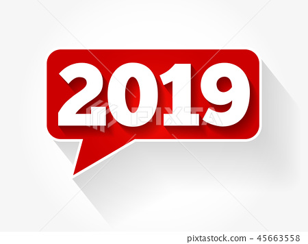 New Year 2019 message bubble 45663558