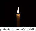 Flame from the candle in the dark room. The light  45665605