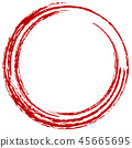 Round circle red brush letter 45665695