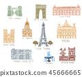 Paris city sights illustrations 45666665
