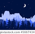 Abstract background with mountains and trees. Forest wilderness and magic winter landscape. Template 45667434