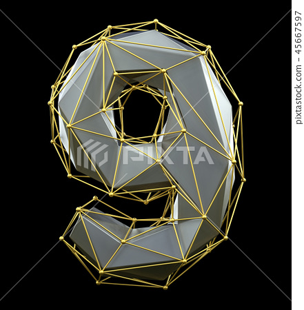 Low poly style number 9. Silver and gold color isolated on black background. 3d 45667597