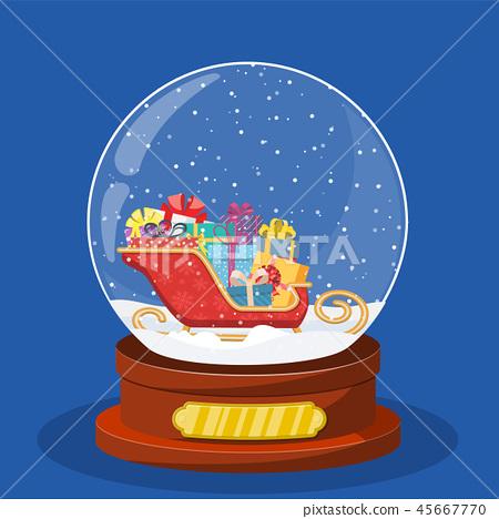 snow glass globe with coach or sleigh inside 45667770