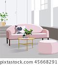 modern vector living room interior design. apartment illustration. 45668291