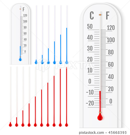 Vector set of realistic liquid thermometers 45668393