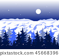 Winter panoramic landscape with trees on hills and beautiful mountains in distance. Vector 45668396