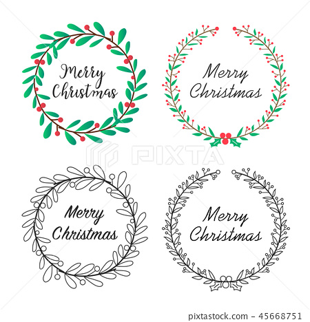 Christmas wreath with floral decoration. 45668751