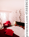 Modern colourful bedroom interior red armchair 45668963