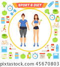 Sport and Diet Icons and Lady Vector Illustration 45670803