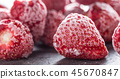 Close-up frozen strawberries covered by frost. 45670847