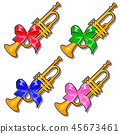 Set of golden pioneer trumpets with colored ribbon bow isolated on white background. Vector cartoon 45673461