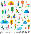 Camping Nature Set of Icons Vector Illustration 45674442
