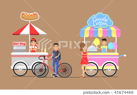 Hot Dogs and Cotton Candy from Street Carts Set 45674466