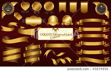 골드 메달 및 리본 세트 45674956