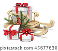 Sledge with Christmas presents and decorations 3D 45677630