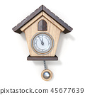 Traditional wooden cuckoo clock Front view 3D 45677639