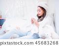 Young woman enjoying winter season.  45683268