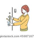 清洗門把例證的婦女 45687167