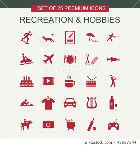 Recreations and Hobbies set of icons red 45687844