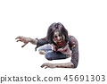 Portrait of asian zombie man crawling with hands 45691303