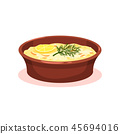 Casserole with vegetables and meat, moussaka, Bulgarian cuisine national food dish vector 45694016
