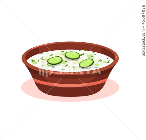 Tarator cold soup in a bowl, Bulgarian cuisine national food dish vector Illustration on a white 45694026