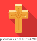Golden cross. Easter single icon in flat style vector symbol stock illustration. 45694790