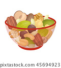 A mixture of different kinds of nuts. Different nuts single icon in cartoon style vector symbol 45694923
