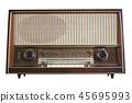 Old radio isolated on white background 45695993
