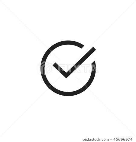 Tick icon vector symbol, line art outline black checkmark isolated, checked icon or correct choice 45696974