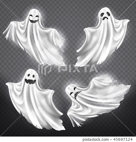 set of white ghosts, Halloween monsters 45697124