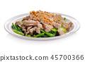 Thai food ,fried kale with pork on white  45700366