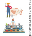 Farmer and Vendor Icons Set Vector Illustration 45700891