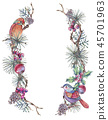 Christmas Vintage Floral Wreath, New Year Decoration with Apples 45701963