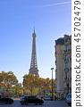 파리, 에펠 탑이 보이는 풍경 45702479