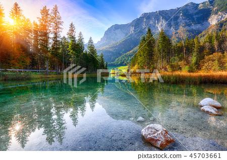 Fantastic autumn sunrise of Hintersee lake 45703661