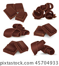 Set of broken chocolate bars and shavings 45704933