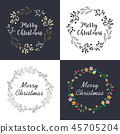 Christmas wreath with floral decoration. 45705204