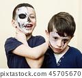 zombie apocalypse kids concept. Birthday party celebration facep 45705670